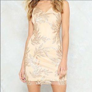 Gold sequin mini bodycon dress